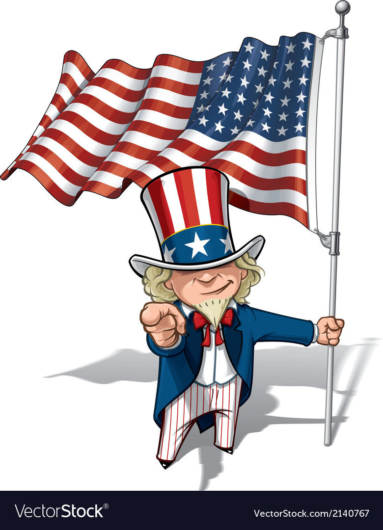 Uncle sam i want you us wwi wwii 48 star flag vector | Price: 3 Credit (USD $3)