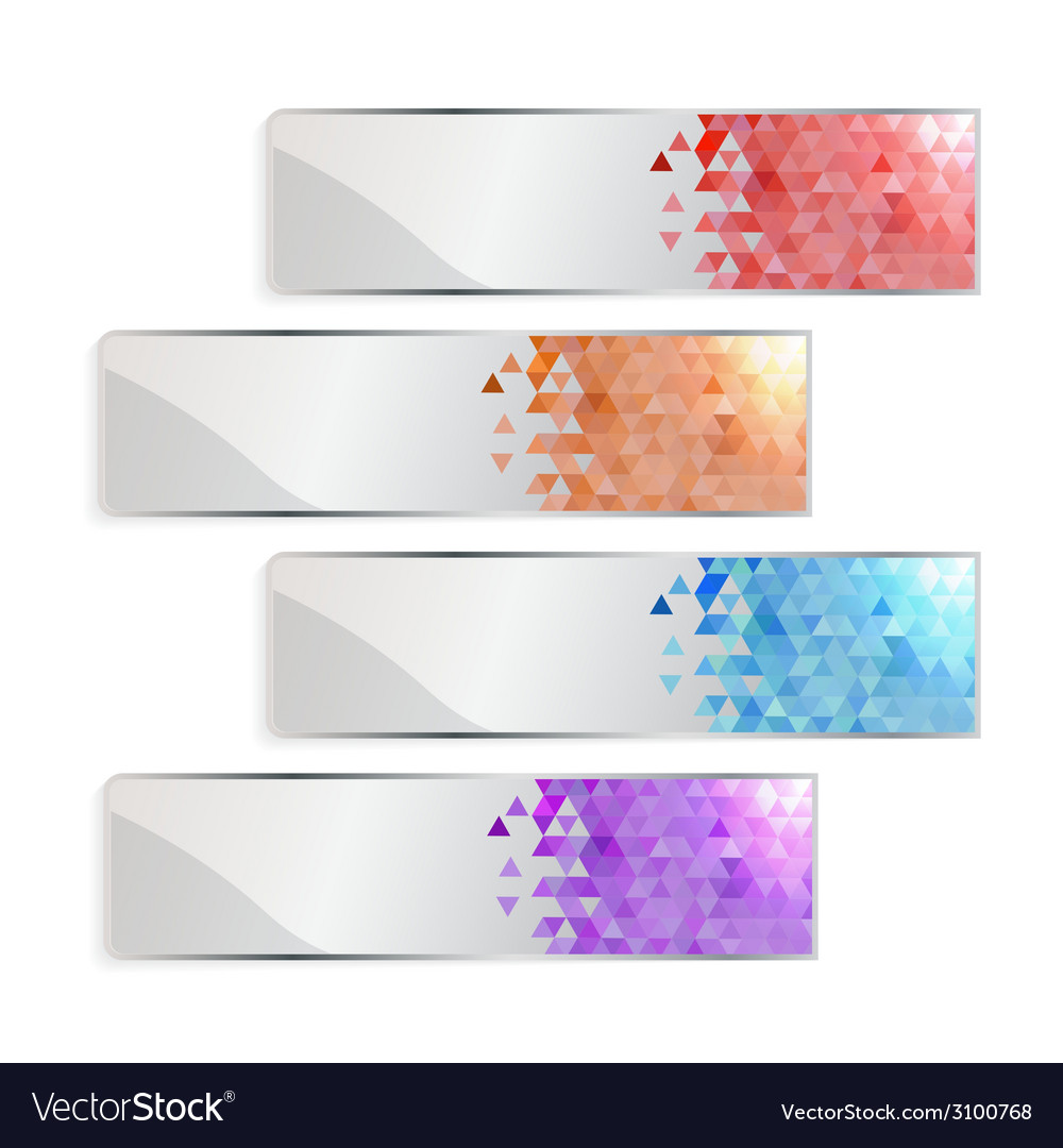Banner set with colored geometric pixel and shadow vector | Price: 1 Credit (USD $1)