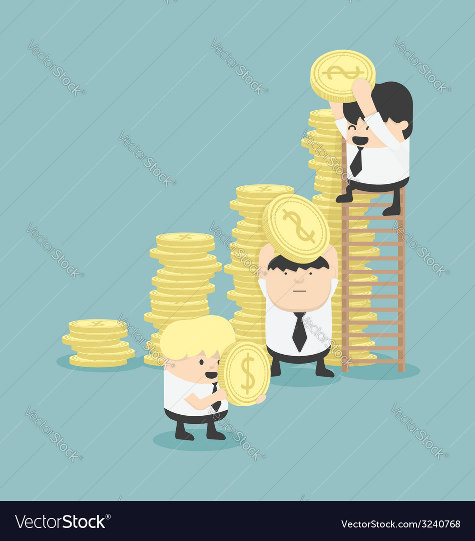 Businessmen make graph money vector | Price: 1 Credit (USD $1)
