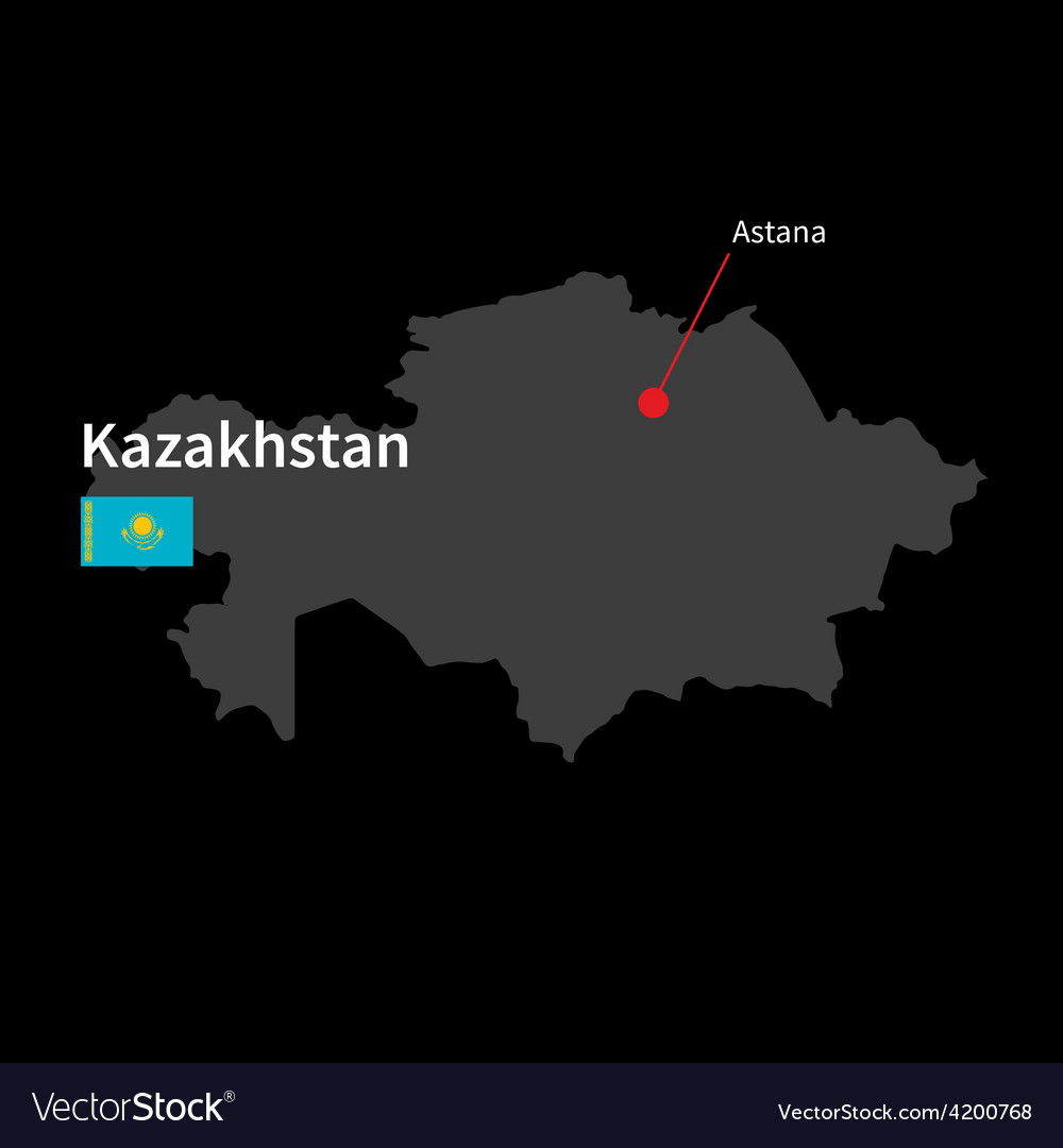 Detailed map of kazakhstan and capital city astana vector   Price: 1 Credit (USD $1)