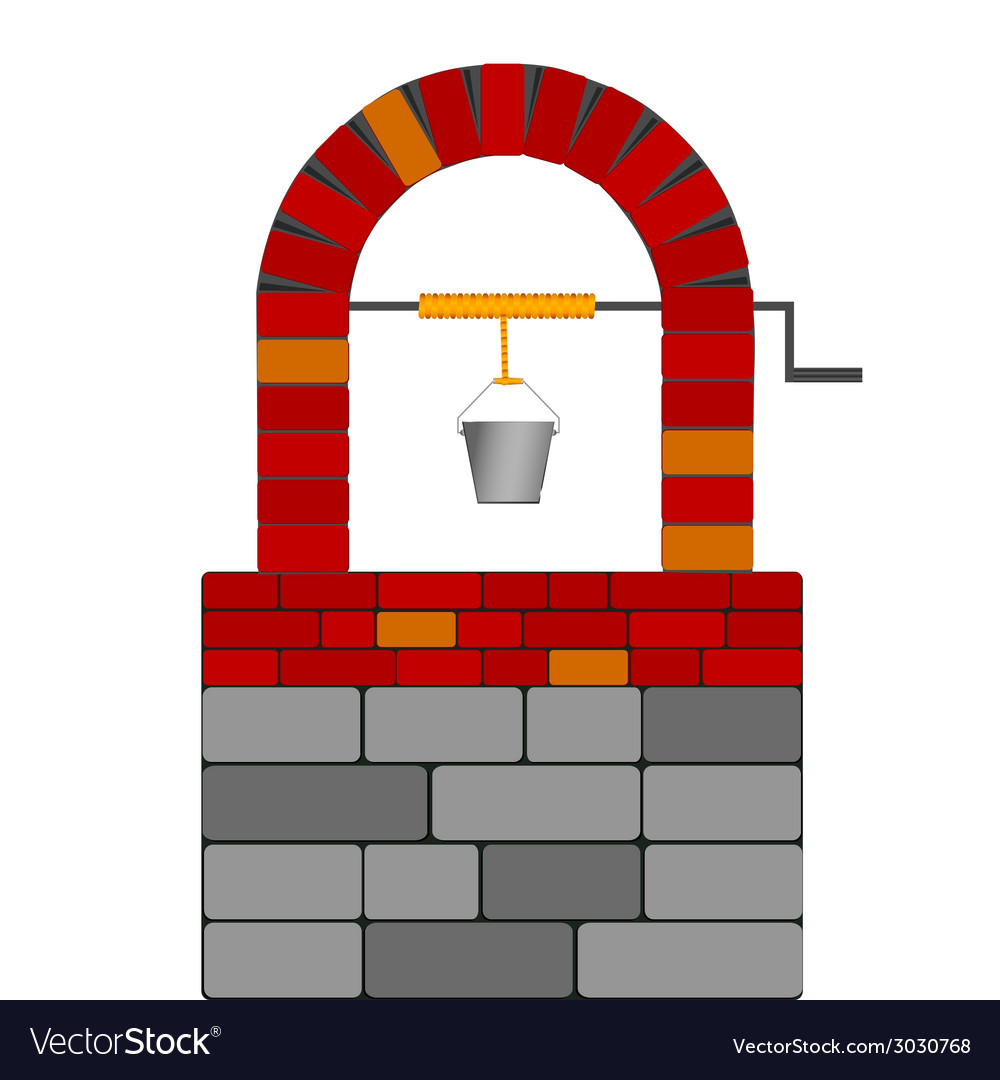 Draw well with red brick vector | Price: 1 Credit (USD $1)