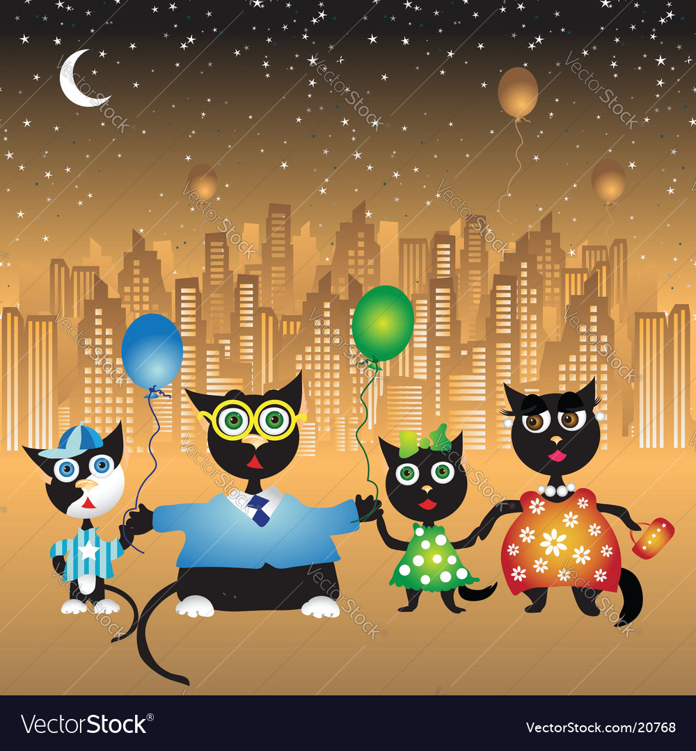 Family walk on city cats vector | Price: 3 Credit (USD $3)