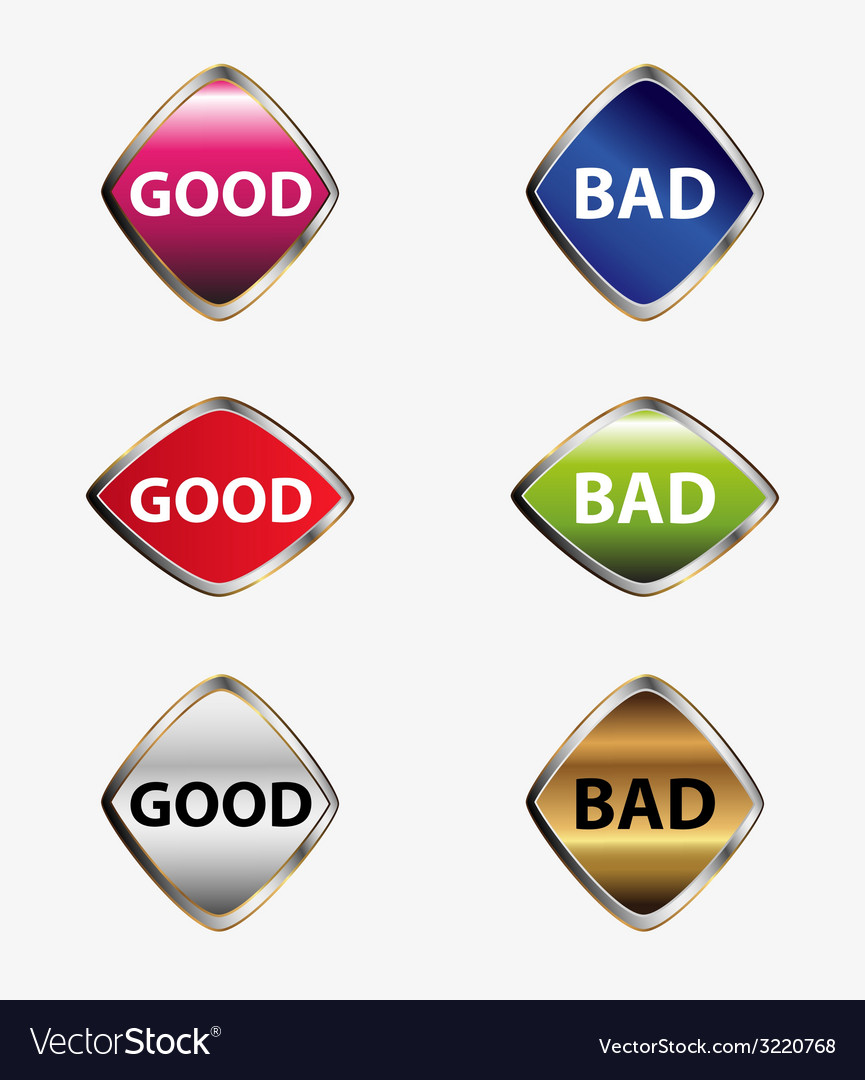 Good bad button set vector | Price: 1 Credit (USD $1)