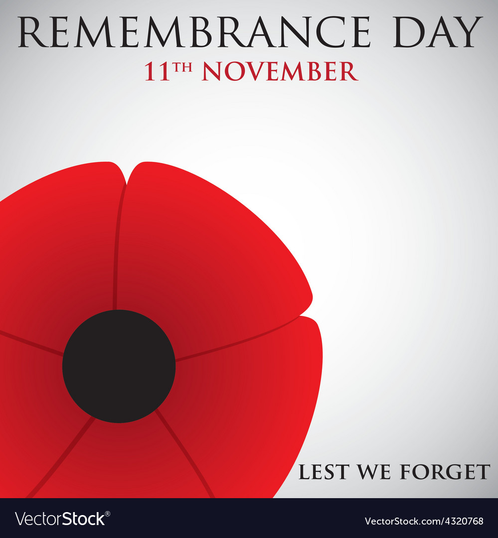 Remembrance day card in format vector | Price: 1 Credit (USD $1)