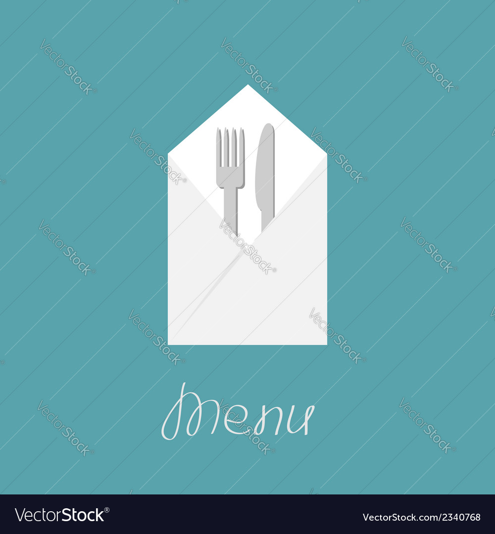 Silver fork knife and napkin menu cover in flat vector | Price: 1 Credit (USD $1)
