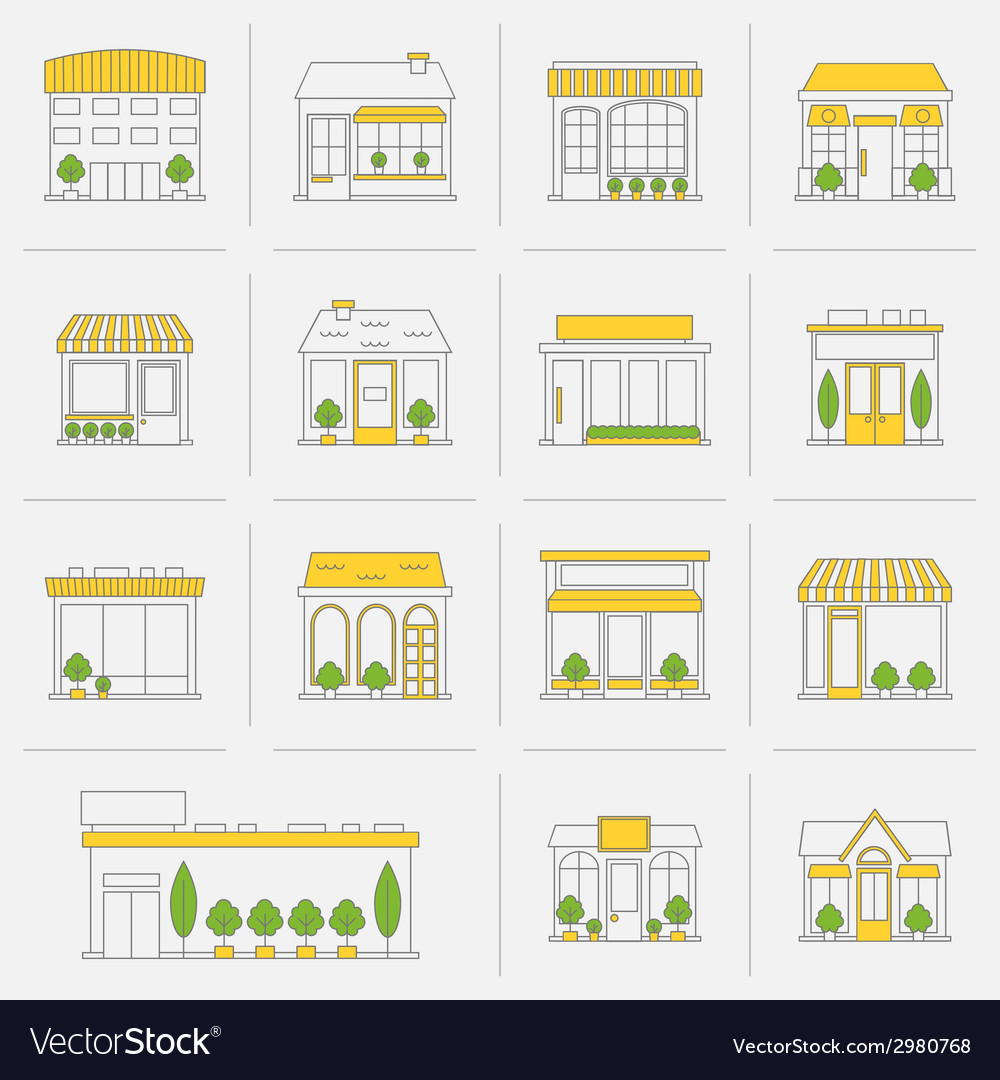 Store building icons set flat line vector | Price: 1 Credit (USD $1)