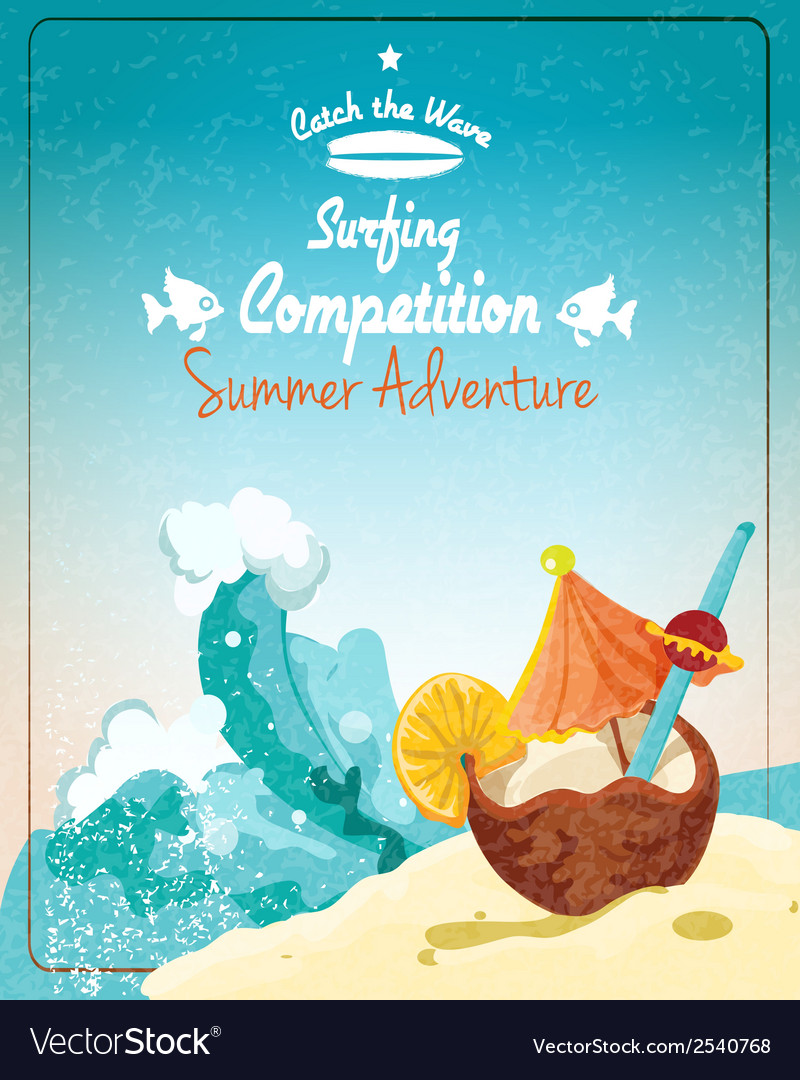Surfing competition poster vector | Price: 3 Credit (USD $3)
