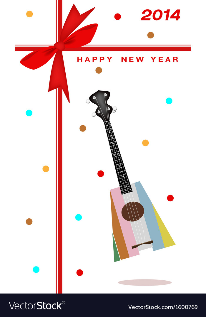 2014 new year gift card of an ukulele guitar vector | Price: 1 Credit (USD $1)