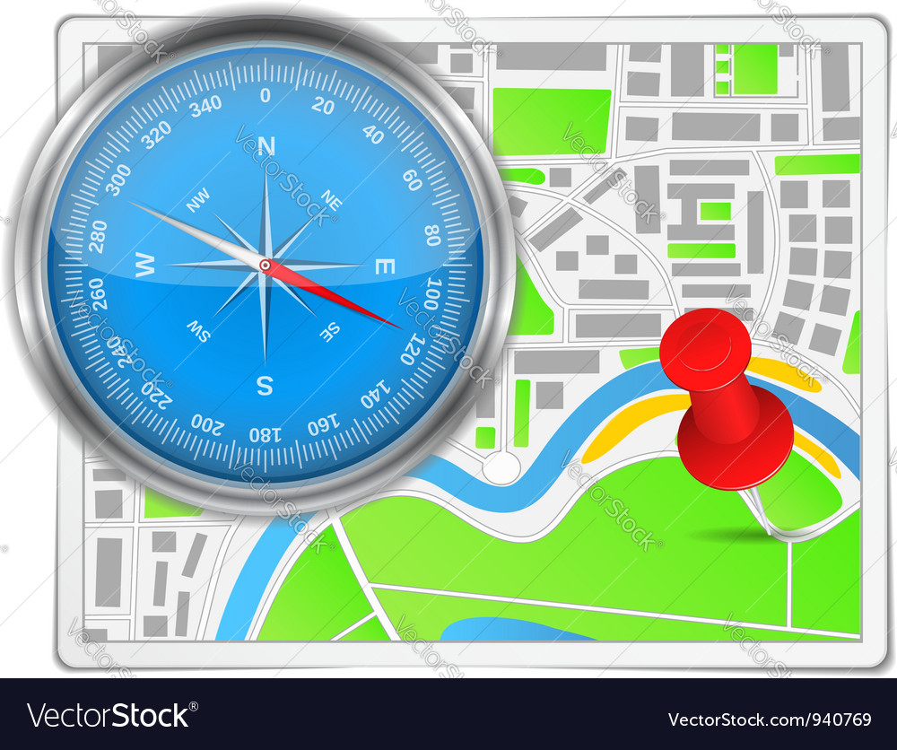 Abstract map with compass and push pin vector | Price: 1 Credit (USD $1)
