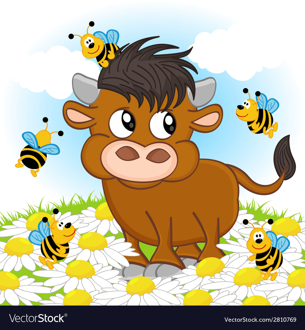 Bull and bee vector | Price: 1 Credit (USD $1)
