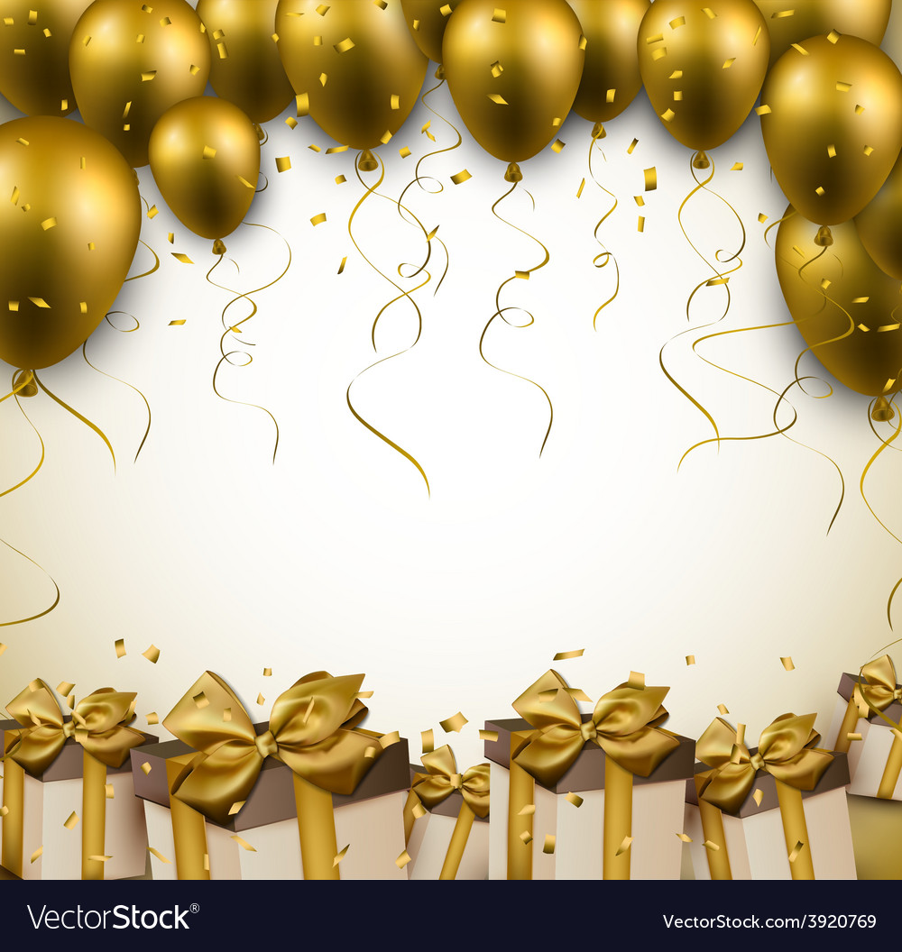 Celebrate golden background with balloons vector | Price: 1 Credit (USD $1)