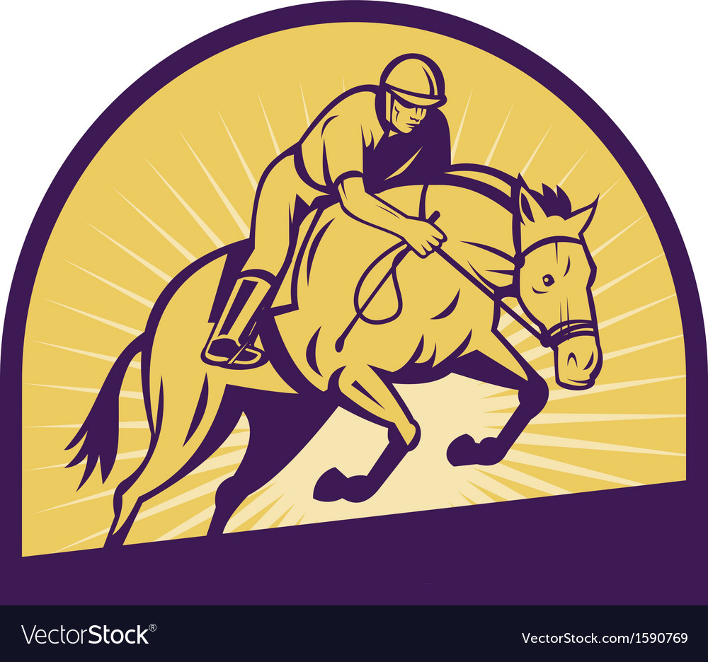 Equestrian show jumping with horse vector | Price: 1 Credit (USD $1)
