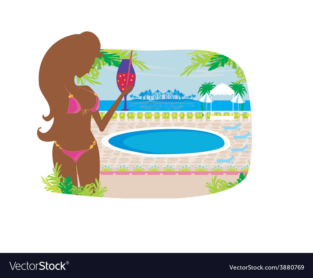 Girl with a drink on tropical pool vector | Price: 1 Credit (USD $1)