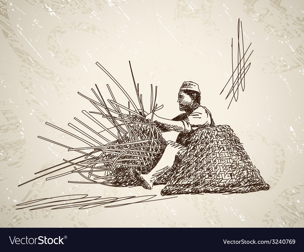 Man weaves a basket vector | Price: 1 Credit (USD $1)