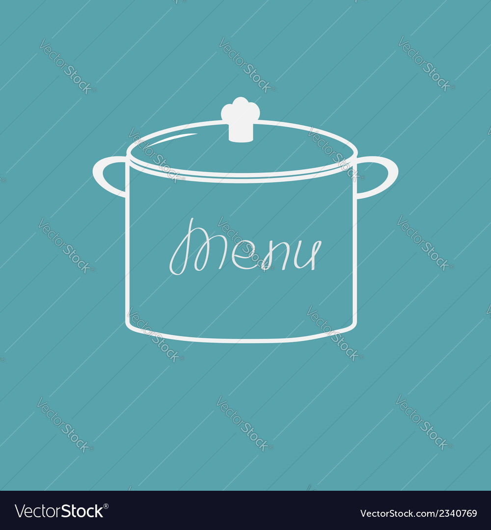 Menu cover with saucepan flat design style vector | Price: 1 Credit (USD $1)