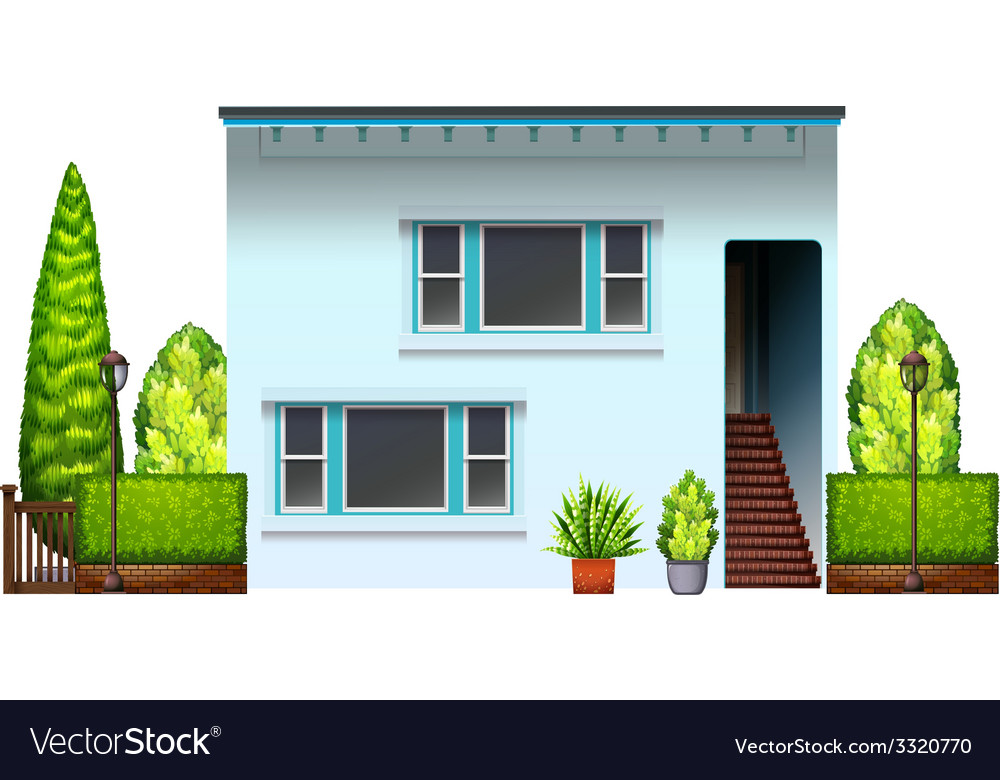A big residential house with plants vector | Price: 1 Credit (USD $1)