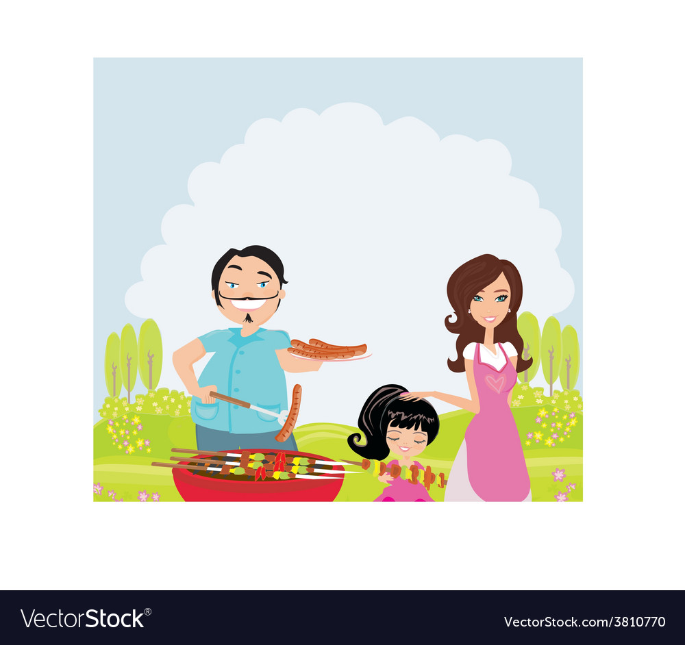 A of a family having a picnic in a park vector | Price: 1 Credit (USD $1)