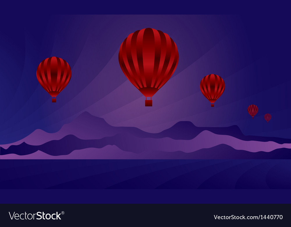 Air balloon in the evening sky vector | Price: 1 Credit (USD $1)