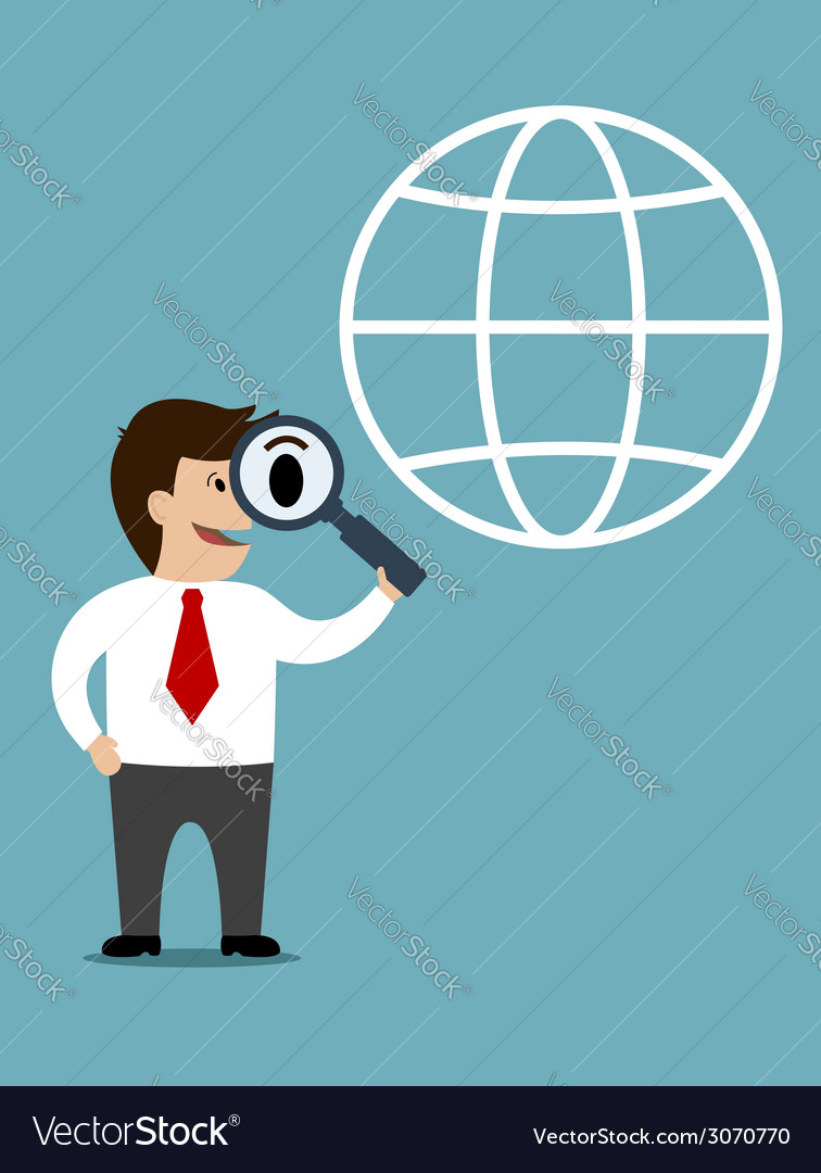 Businessman conducting a global search vector | Price: 1 Credit (USD $1)
