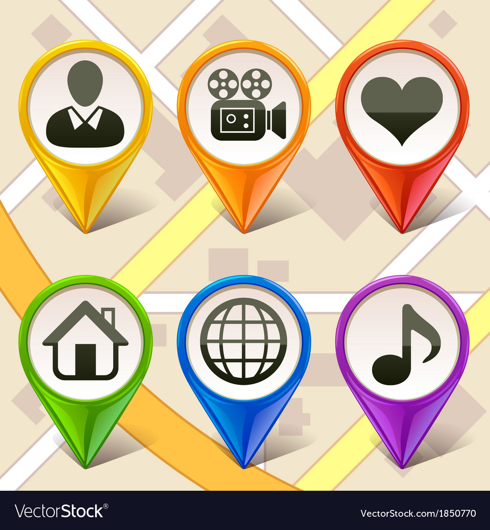 Colorful map markers-set 2 vector | Price: 1 Credit (USD $1)