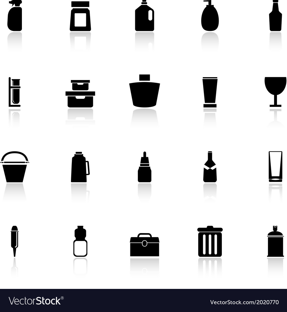 Design package icons with reflect on white vector | Price: 1 Credit (USD $1)
