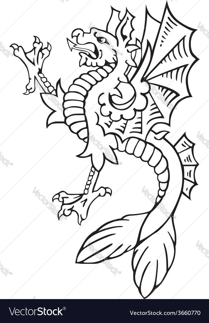 Heraldic dragon no9 vector | Price: 1 Credit (USD $1)