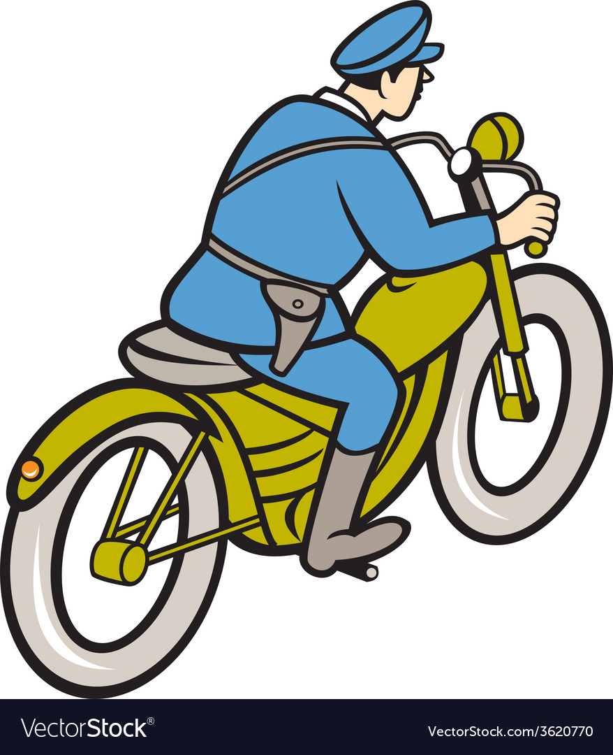 Highway patrol policeman riding motorbike cartoon vector | Price: 1 Credit (USD $1)
