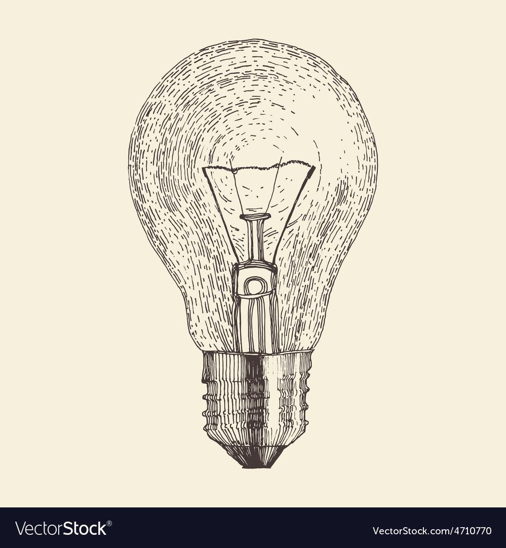 Light bulb vintage engraved vector | Price: 1 Credit (USD $1)