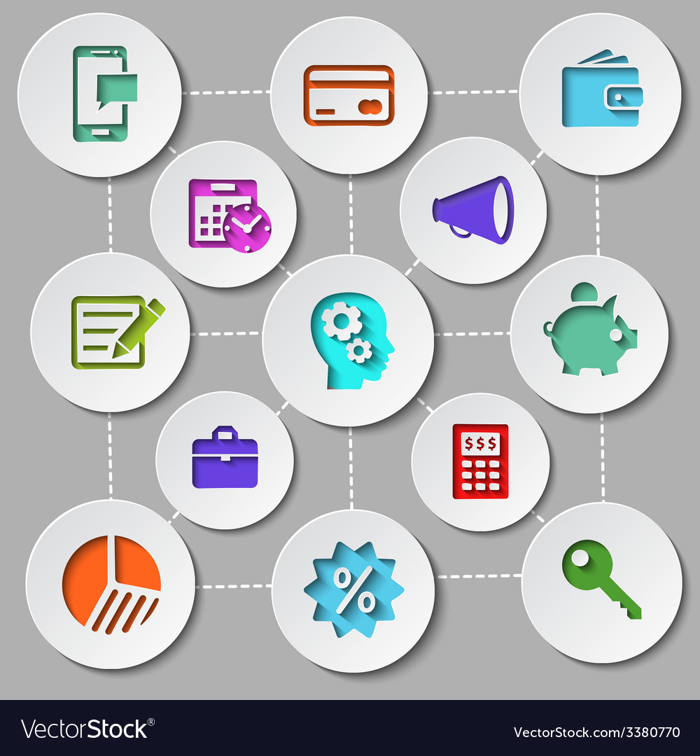 Management and finance flat design icon set vector | Price: 1 Credit (USD $1)