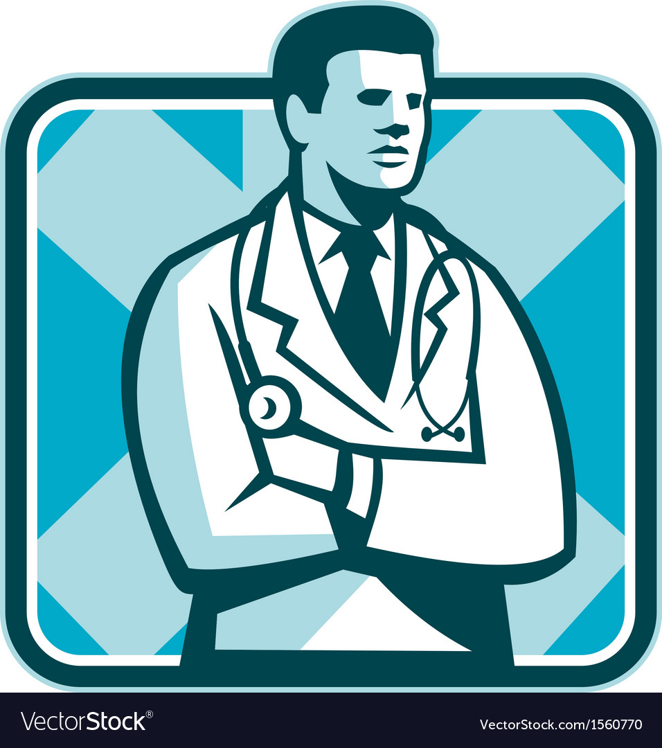 Medical doctor physician stethoscope standing vector | Price: 1 Credit (USD $1)