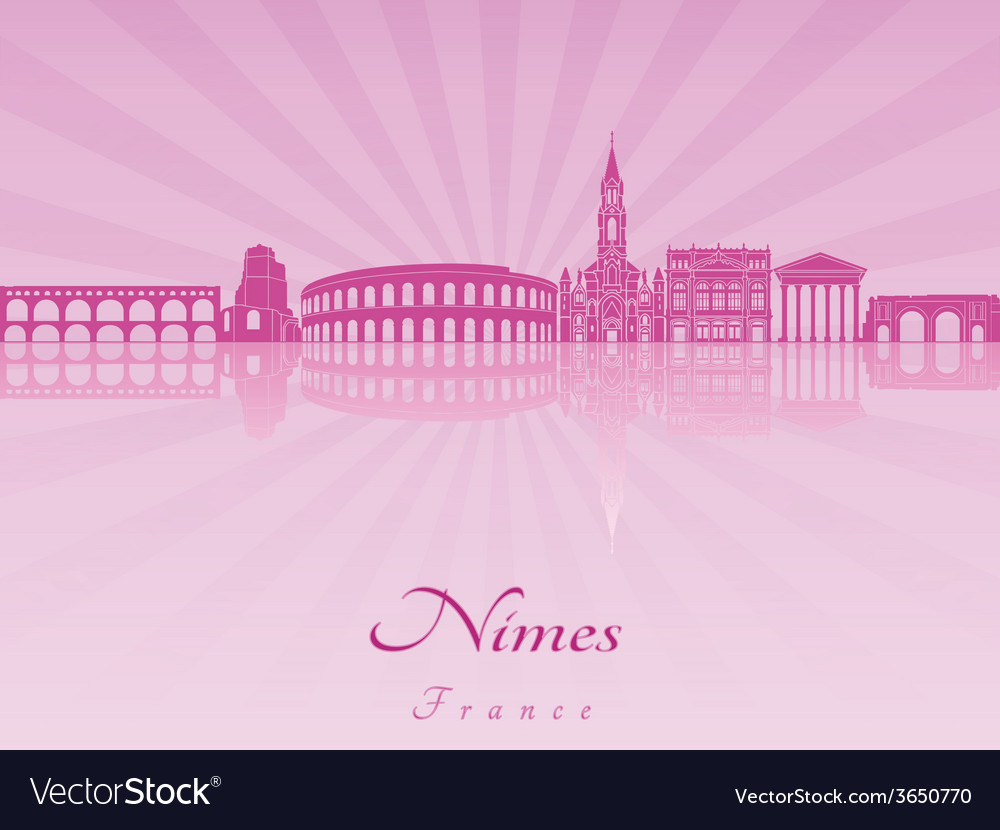 Nimes skyline in purple radiant orchid vector   Price: 1 Credit (USD $1)