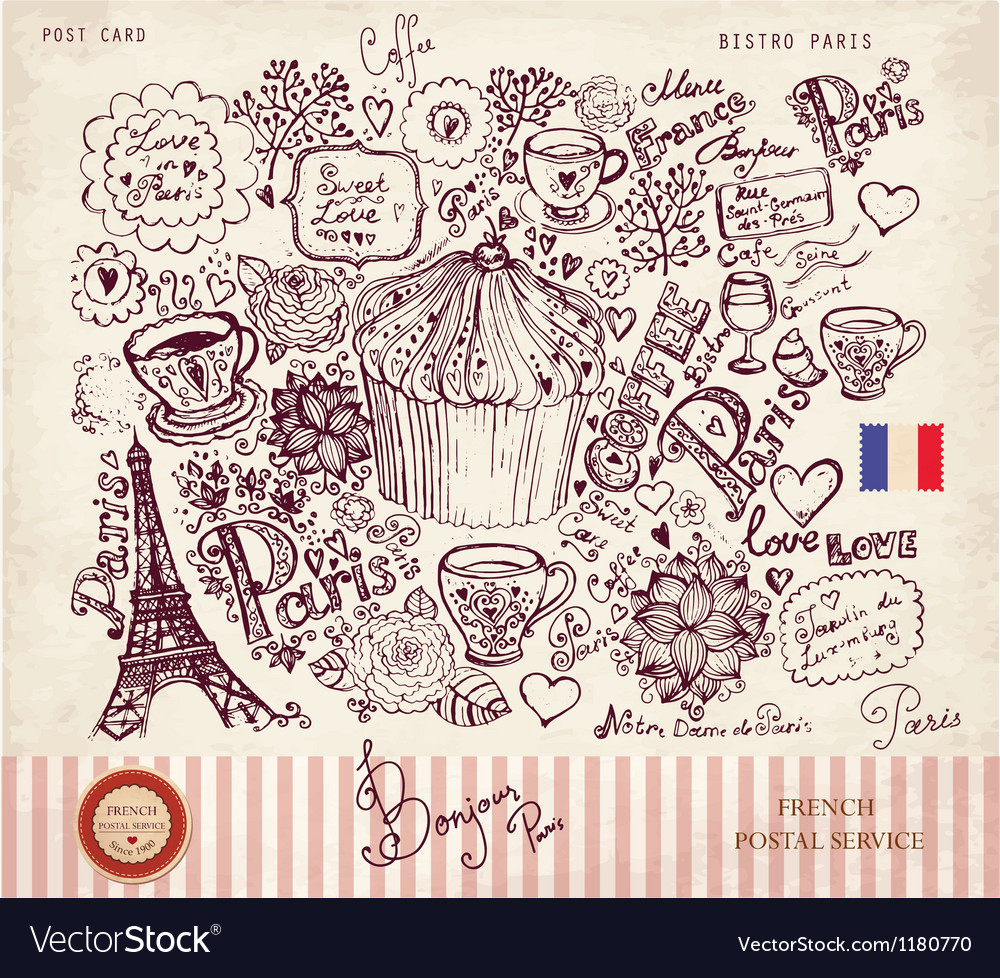 Paris postcard vector | Price: 3 Credit (USD $3)
