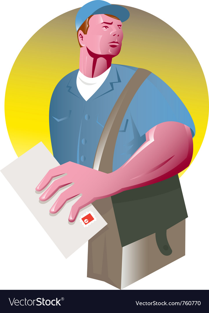 Postman mailman mail bag vector | Price: 1 Credit (USD $1)