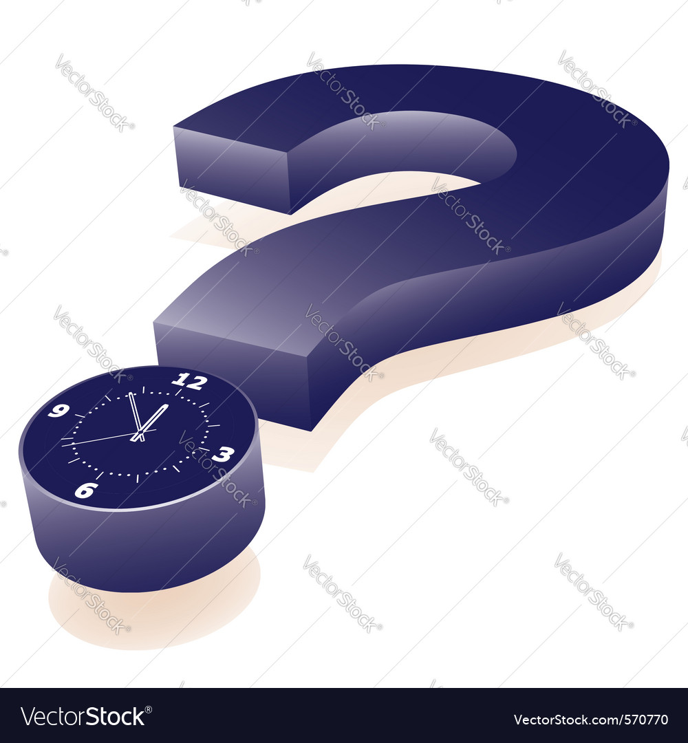 Question mark clock vector | Price: 1 Credit (USD $1)