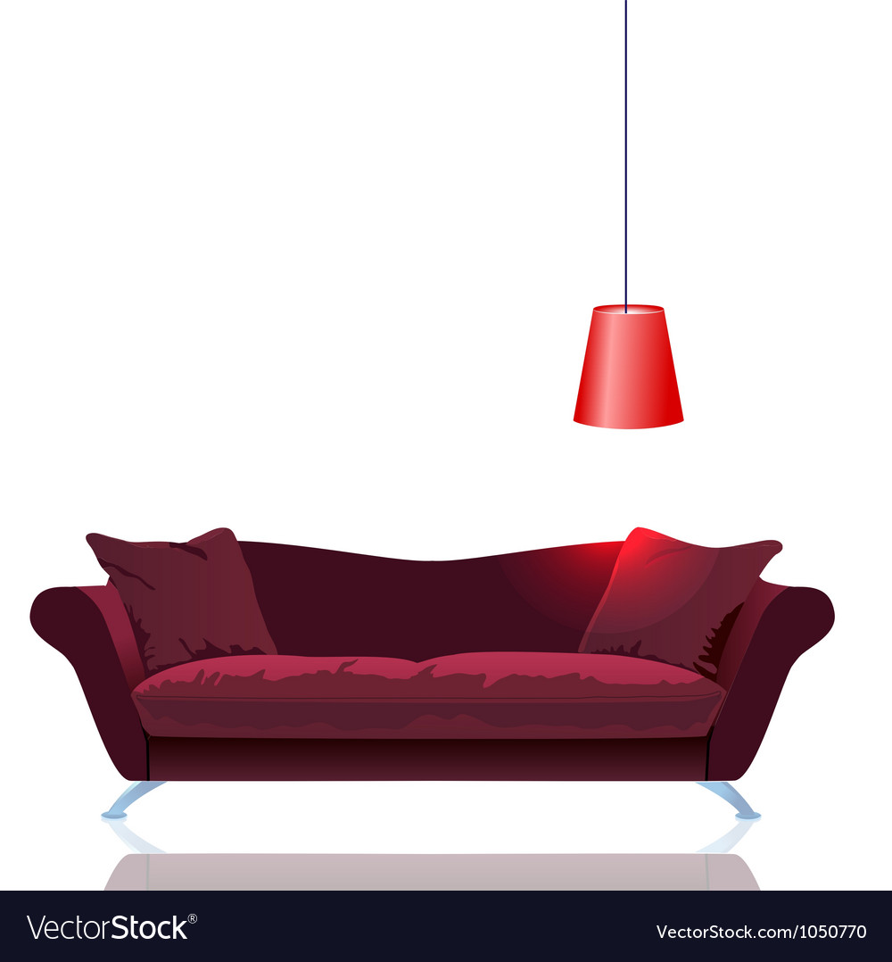 Red sofa with lamp vector | Price: 1 Credit (USD $1)