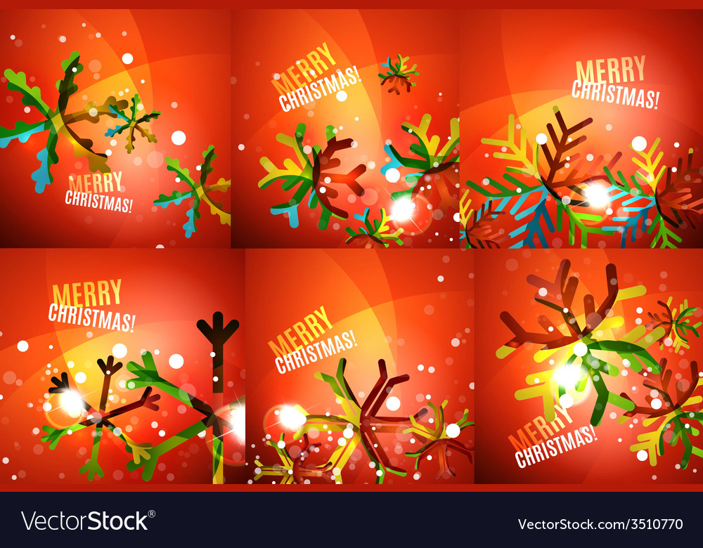 Set of colorful shiny chrismas cards vector   Price: 1 Credit (USD $1)