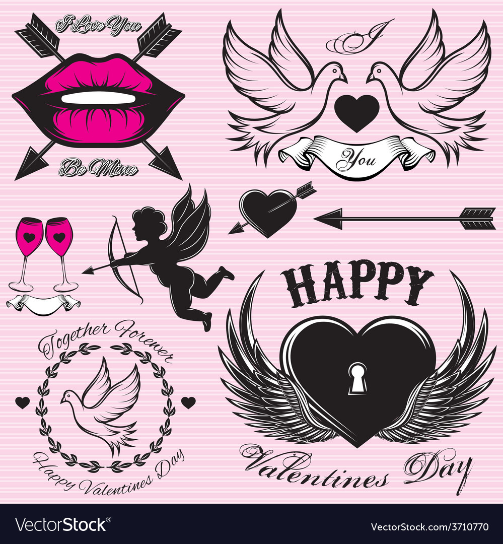 Set patterns for love cards for valentines vector   Price: 1 Credit (USD $1)