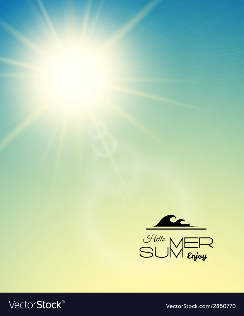Summer background summer sun with lens flare vector | Price: 1 Credit (USD $1)