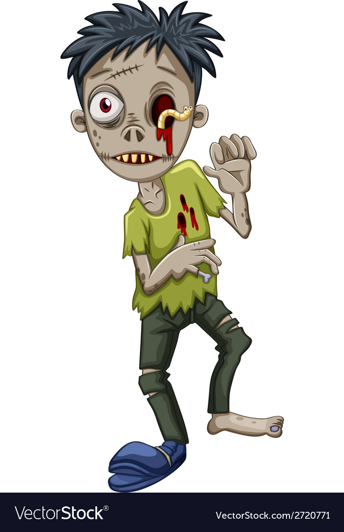 A zombie with a worm in the eye vector | Price: 1 Credit (USD $1)