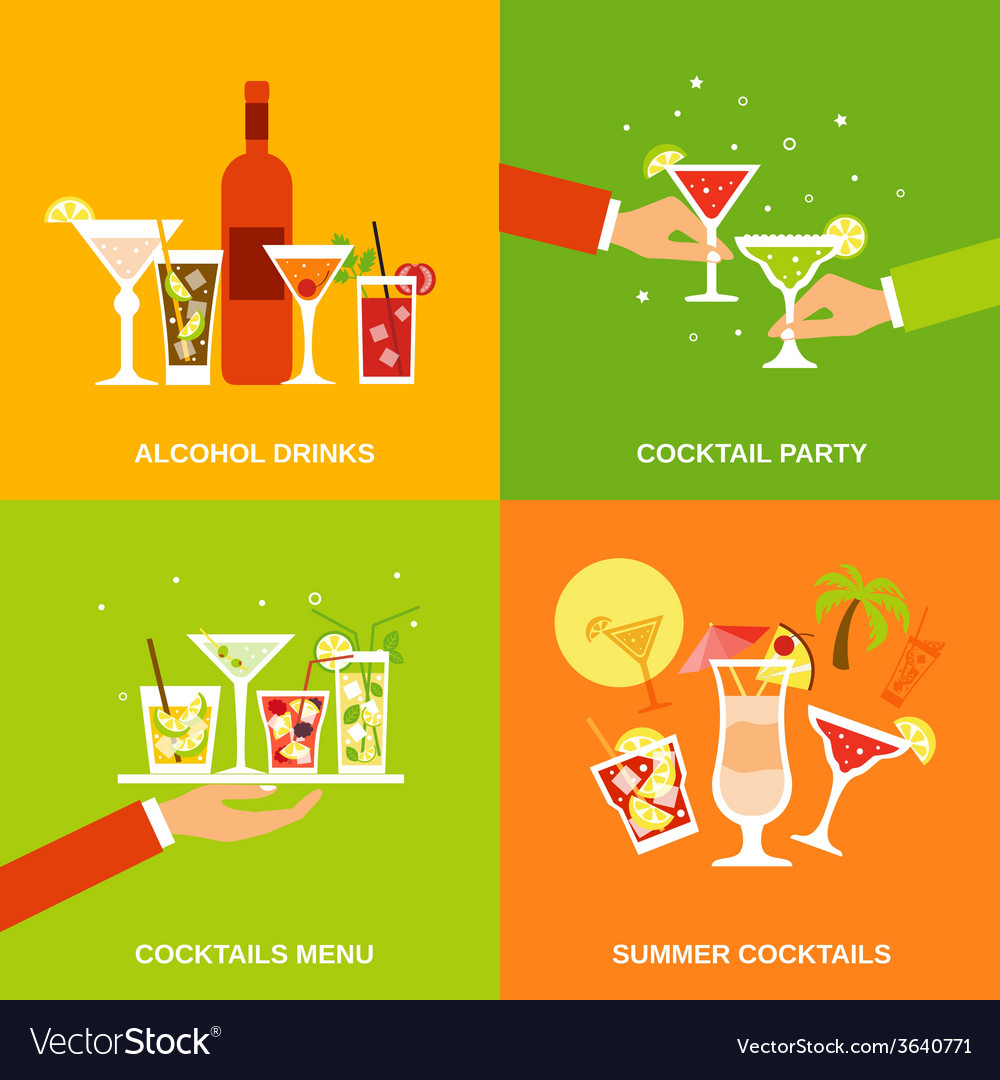 Alcohol cocktails icons flat vector | Price: 1 Credit (USD $1)