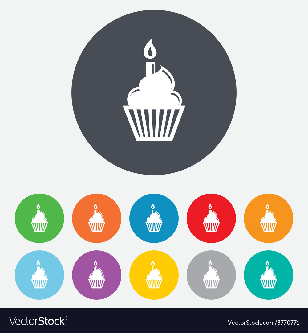 Birthday cake sign icon burning candle symbol vector | Price: 1 Credit (USD $1)