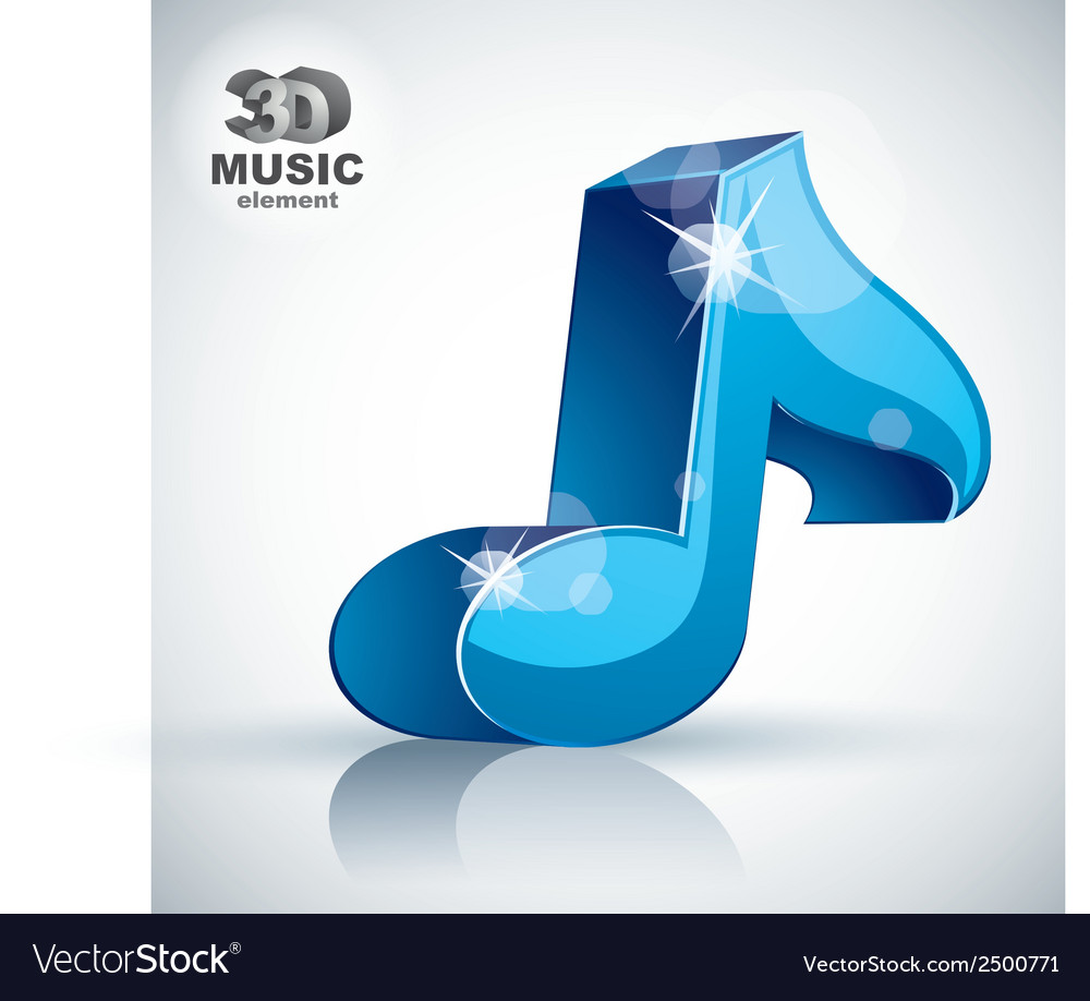 Blue musical note 3d modern icon isolated vector | Price: 1 Credit (USD $1)