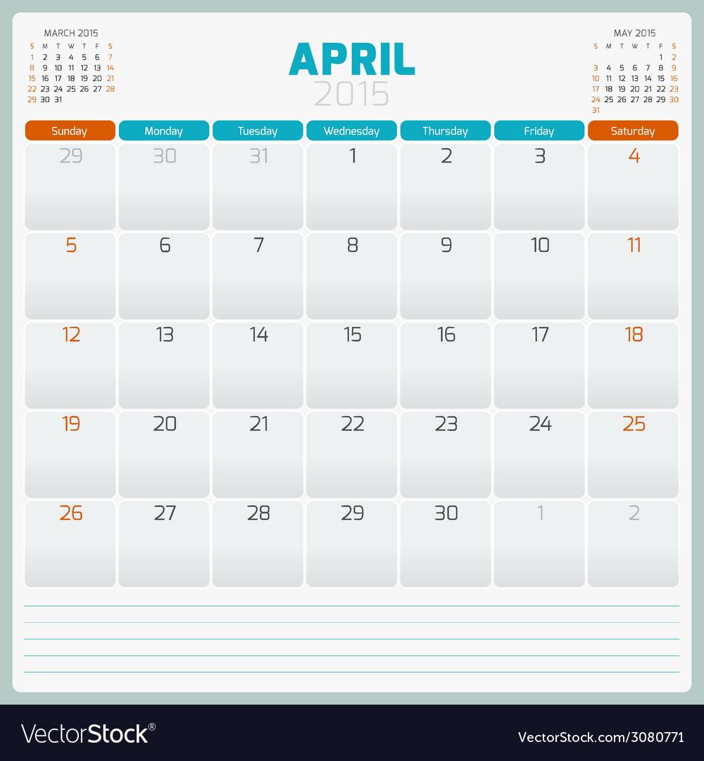 Calendar planner 2015 template week starts sunday vector   Price: 1 Credit (USD $1)