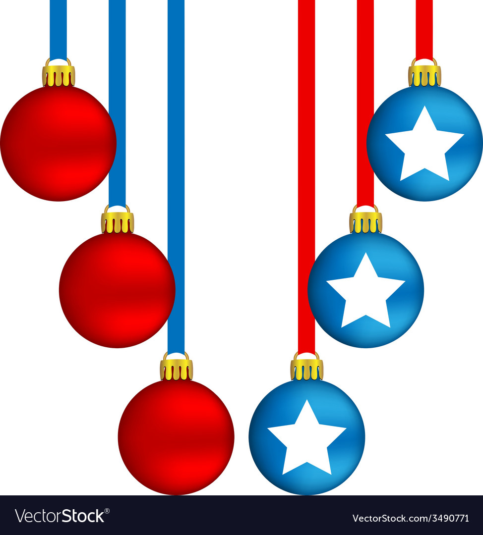 Christmas balls in us colors vector | Price: 1 Credit (USD $1)