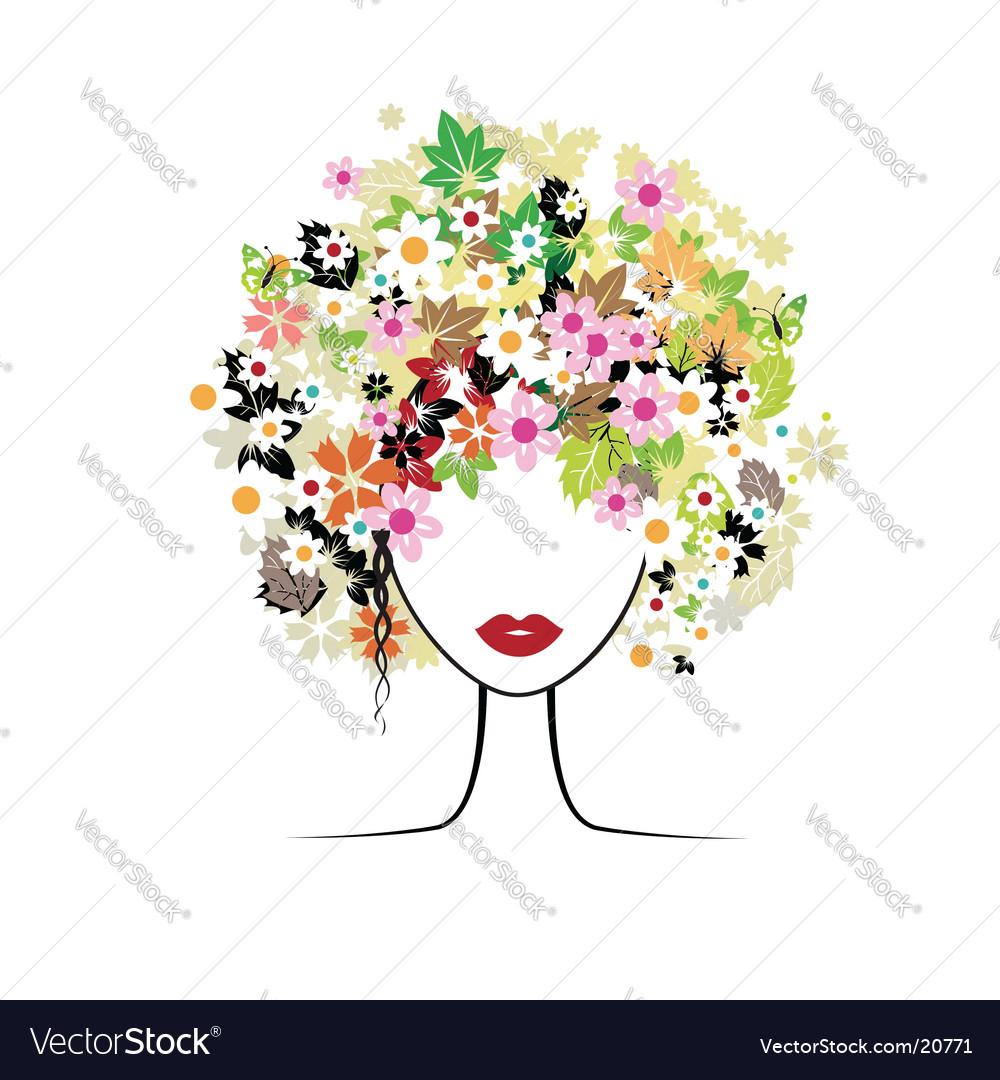 Floral hairstyle woman vector | Price: 1 Credit (USD $1)