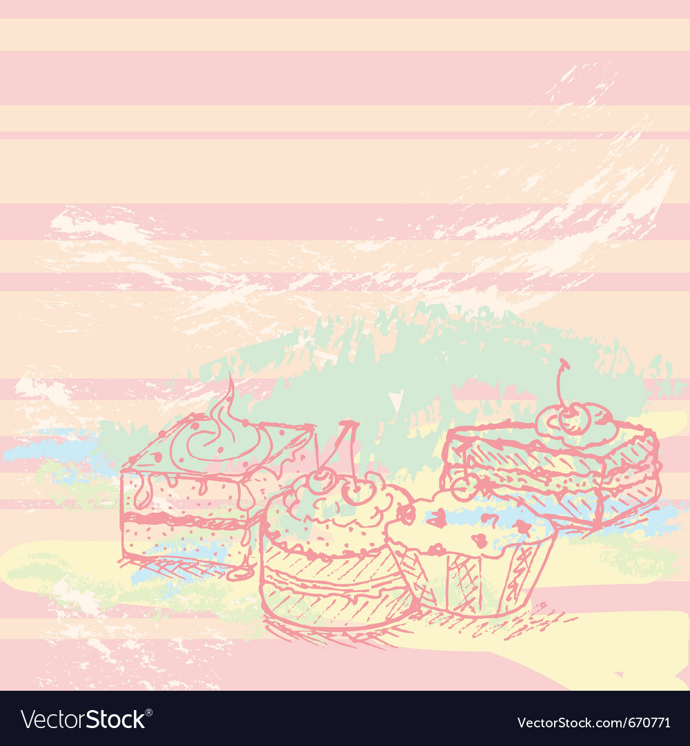 Hand drawn cakes vector   Price: 1 Credit (USD $1)