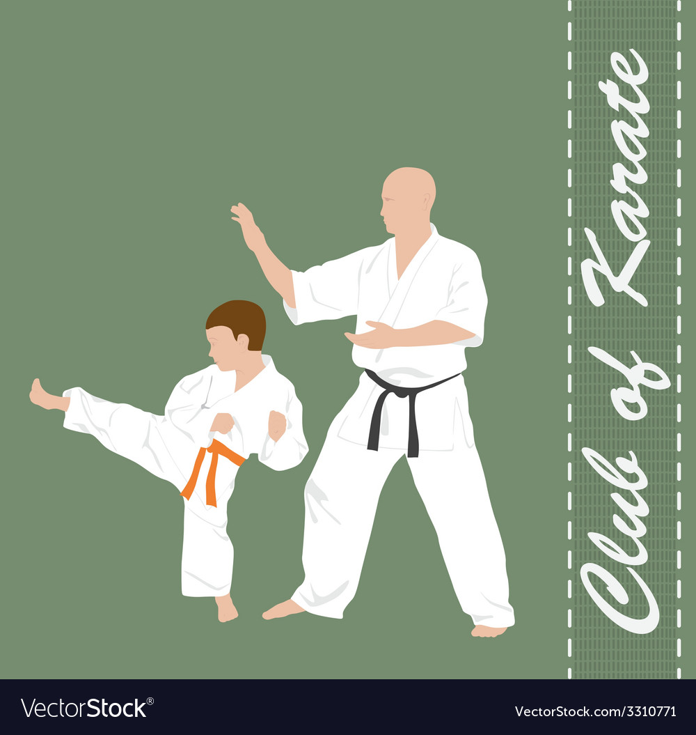 The man and the boy are engaged in karate vector | Price: 1 Credit (USD $1)