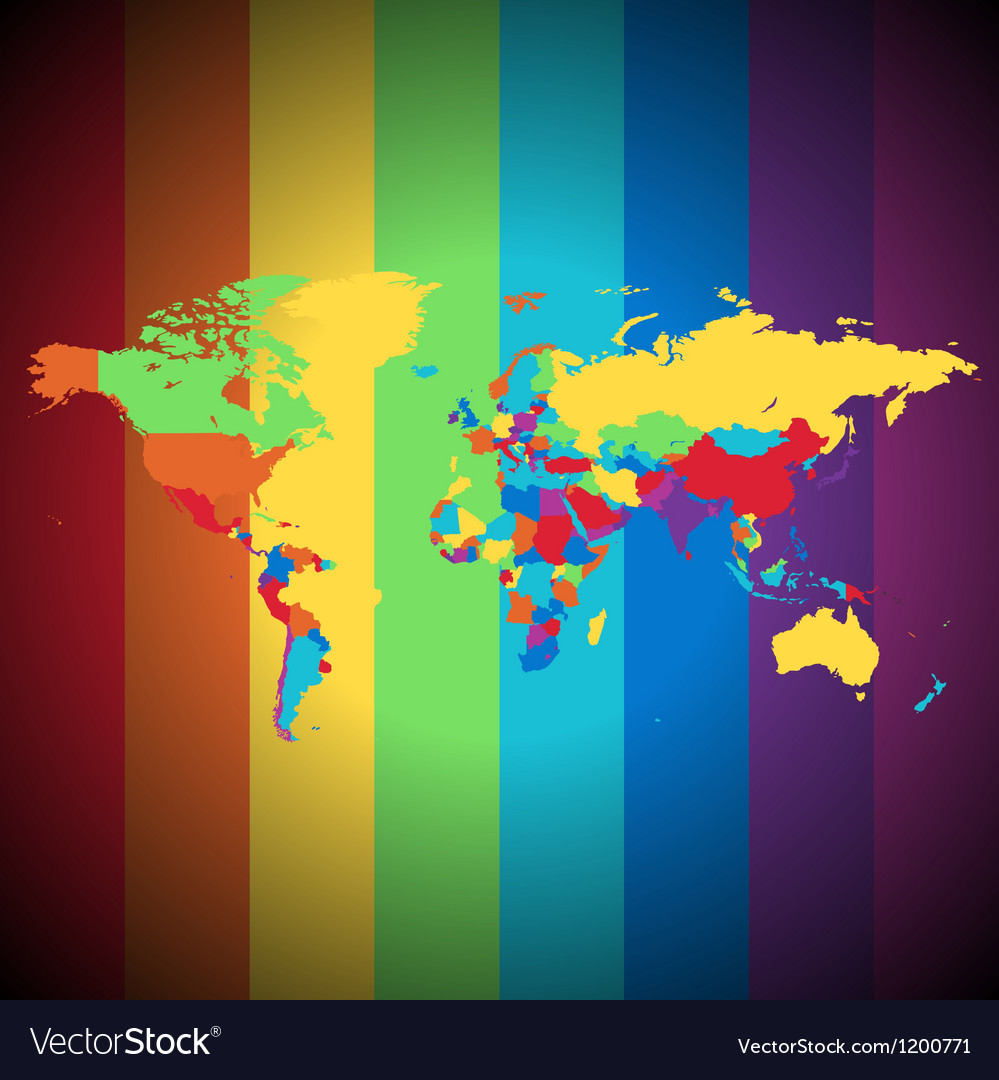 Multicolored world map vector | Price: 1 Credit (USD $1)