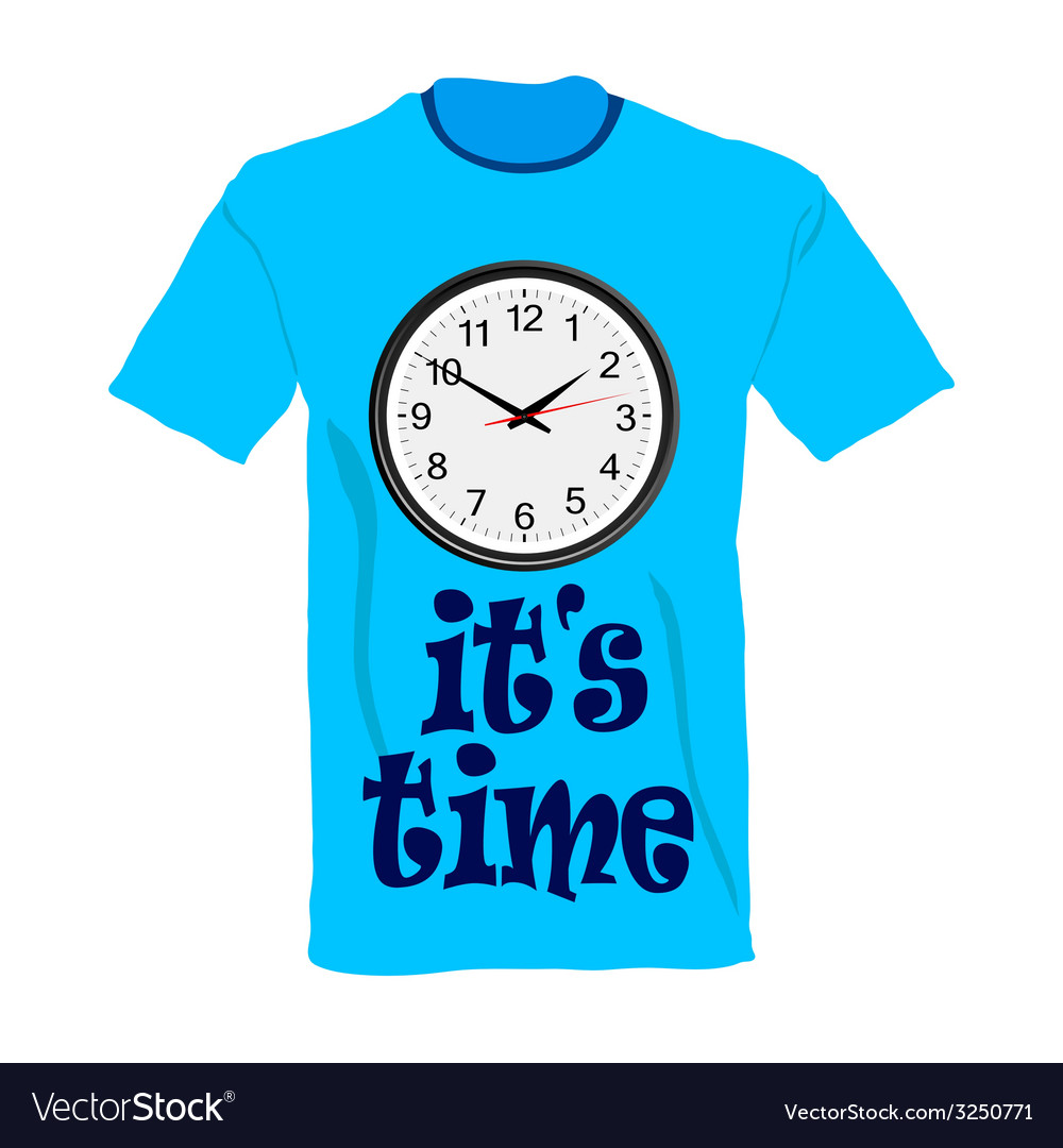 T-shirt in blue color with clock vector | Price: 1 Credit (USD $1)
