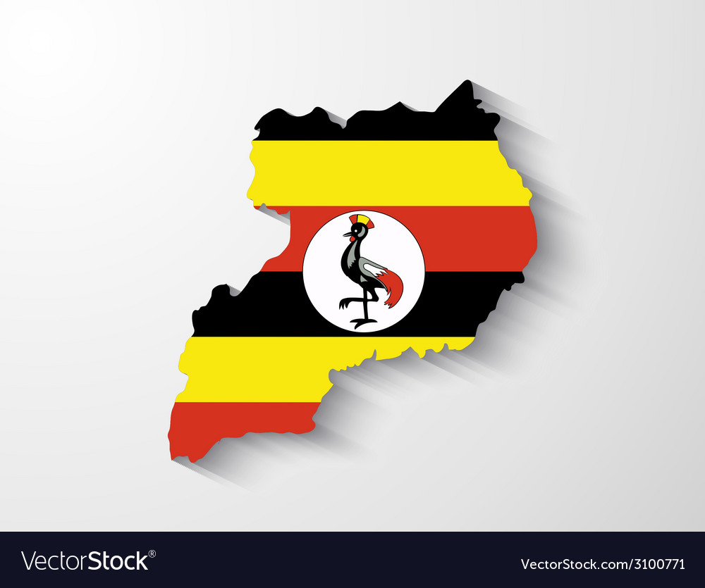 Uganda map with shadow effect vector | Price: 1 Credit (USD $1)